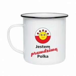Kubek emaliowane Jestem prawdziwą Polką