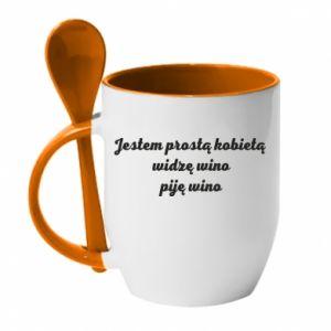 Mug with ceramic spoon I am a simple woman - I see wine, I drink wine - PrintSalon