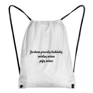 Plecak-worek Jestem prostą kobietą - widzę wino, piję wino