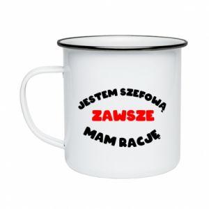 Enameled mug I'm the boss, I'm always right - PrintSalon