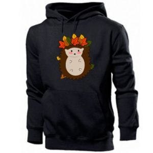 Men's hoodie Hedgehog in the leaves