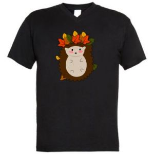Men's V-neck t-shirt Hedgehog in the leaves