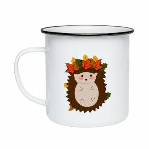 Enameled mug Hedgehog in the leaves