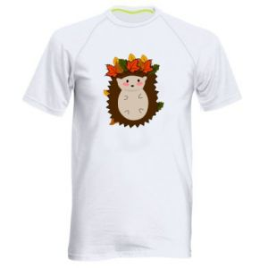 Men's sports t-shirt Hedgehog in the leaves