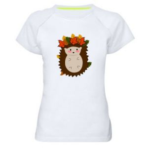 Women's sports t-shirt Hedgehog in the leaves