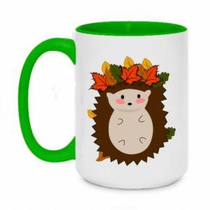 Two-toned mug 450ml Hedgehog in the leaves