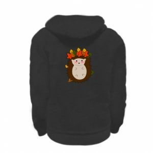 Kid's zipped hoodie % print% Hedgehog in the leaves
