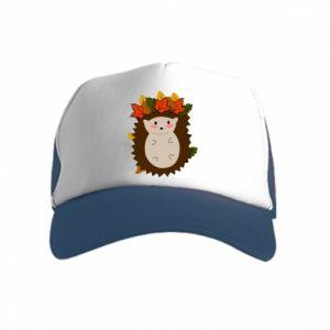 Kid's Trucker Hat Hedgehog in the leaves