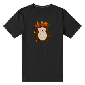 Męska premium koszulka Jeż w liściach