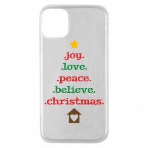 Etui na iPhone 11 Pro Joy. Love. Peace. Believe. Christmas.