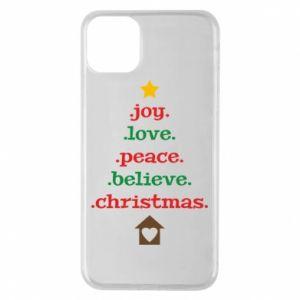 Etui na iPhone 11 Pro Max Joy. Love. Peace. Believe. Christmas.