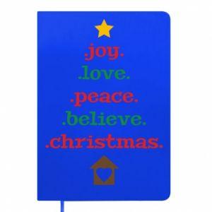 Notes Joy. Love. Peace. Believe. Christmas.
