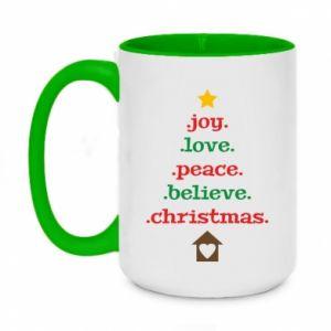 Kubek dwukolorowy 450ml Joy. Love. Peace. Believe. Christmas.