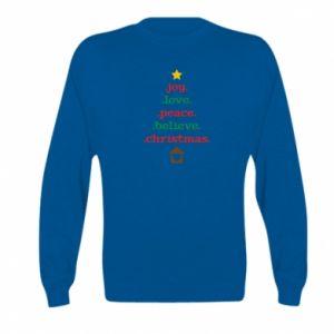 Bluza dziecięca Joy. Love. Peace. Believe. Christmas.
