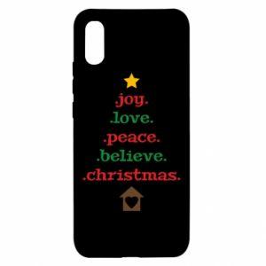 Etui na Xiaomi Redmi 9a Joy. Love. Peace. Believe. Christmas.