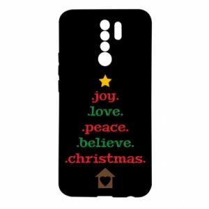 Etui na Xiaomi Redmi 9 Joy. Love. Peace. Believe. Christmas.