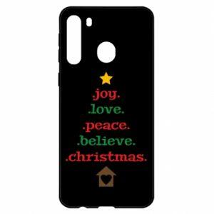 Etui na Samsung A21 Joy. Love. Peace. Believe. Christmas.