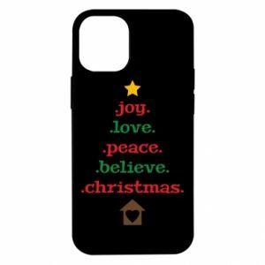 Etui na iPhone 12 Mini Joy. Love. Peace. Believe. Christmas.
