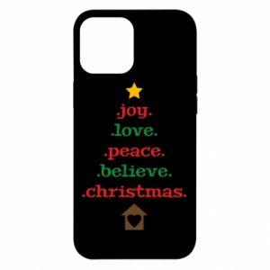 Etui na iPhone 12 Pro Max Joy. Love. Peace. Believe. Christmas.