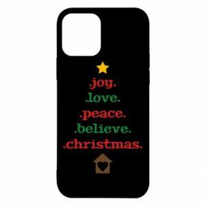 Etui na iPhone 12/12 Pro Joy. Love. Peace. Believe. Christmas.