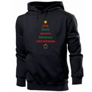 Bluza z kapturem męska Joy. Love. Peace. Believe. Christmas.