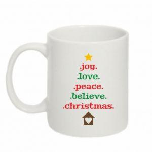 Kubek 330ml Joy. Love. Peace. Believe. Christmas.