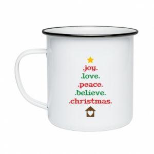 Kubek emaliowany Joy. Love. Peace. Believe. Christmas.