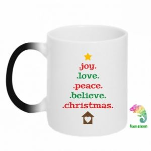 Kubek-kameleon Joy. Love. Peace. Believe. Christmas.