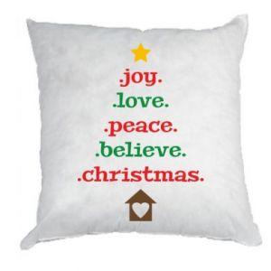 Poduszka Joy. Love. Peace. Believe. Christmas.