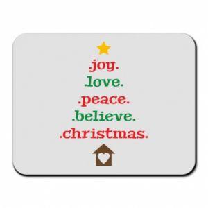 Podkładka pod mysz Joy. Love. Peace. Believe. Christmas.