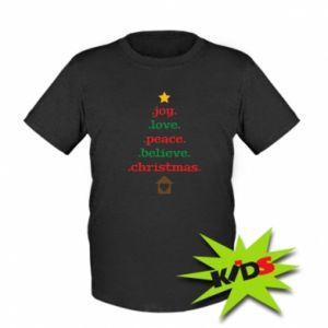 Kids T-shirt Joy. Love. Peace. Believe. Christmas.