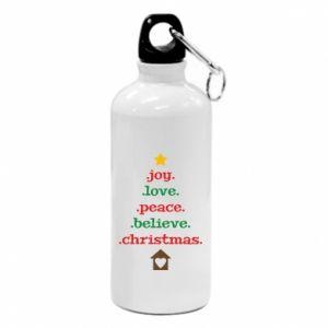 Bidon turystyczny Joy. Love. Peace. Believe. Christmas.