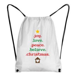 Plecak-worek Joy. Love. Peace. Believe. Christmas.