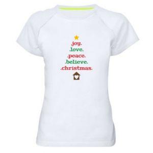 Koszulka sportowa damska Joy. Love. Peace. Believe. Christmas.