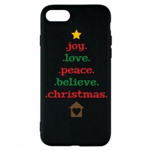Etui na iPhone 7 Joy. Love. Peace. Believe. Christmas.