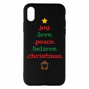 Etui na iPhone X/Xs Joy. Love. Peace. Believe. Christmas.