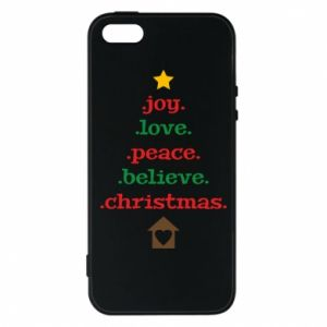 Etui na iPhone 5/5S/SE Joy. Love. Peace. Believe. Christmas.