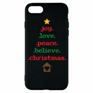 Etui na iPhone 8 Joy. Love. Peace. Believe. Christmas.