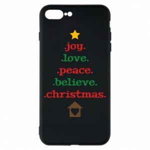 Etui na iPhone 8 Plus Joy. Love. Peace. Believe. Christmas.