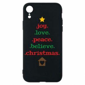 Etui na iPhone XR Joy. Love. Peace. Believe. Christmas.