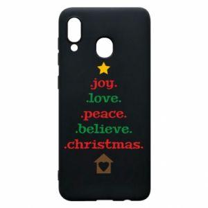 Etui na Samsung A20 Joy. Love. Peace. Believe. Christmas.