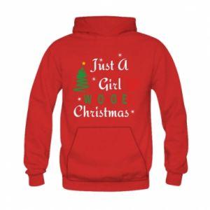 Bluza z kapturem dziecięca Just a girl who love Christmas