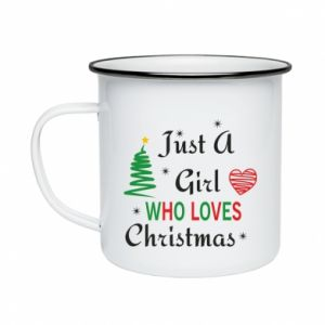 Kubek emaliowany Just a girl who love Christmas