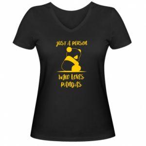 Damska koszulka V-neck Just a person who loves pandas