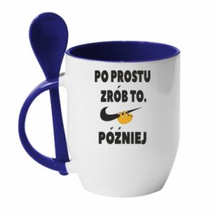 Mug with ceramic spoon Just do it later
