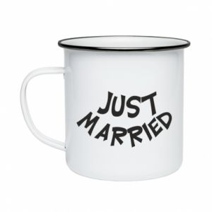 Kubek emaliowany Just married. Color