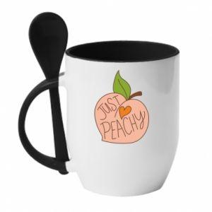 Kubek z ceramiczną łyżeczką Just peachy