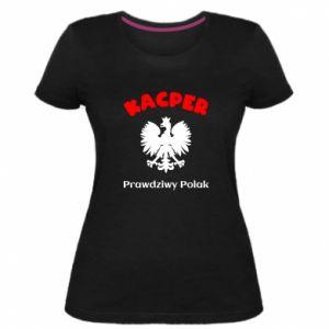 Koszulka premium damska Kacper jest prawdziwym Polakiem