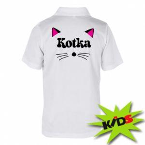 Koszulka polo dziecięca Kotka z różowymi uszkami