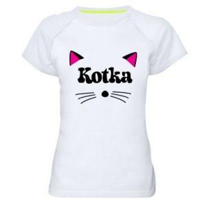 Koszulka sportowa damska Kotka z różowymi uszkami
